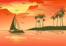 Tropical sunset over the sea Royalty Free Stock Images