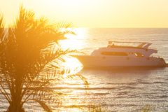 Tropical sunset. Sunset with palm leaves boat and sea Royalty Free Stock Photography