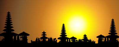 Tropical sunset, palm tree silhouette. Vector illustration Stock Photo
