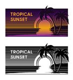 Tropical beach sunset banner vector illustration