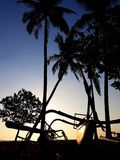 Tropical sunset with palms silhouette and catamaran Royalty Free Stock Photo