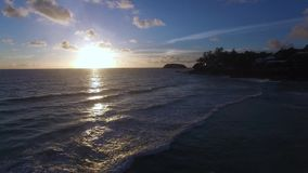 Tropical sunset. Phuket sunset in july . Drone footage stock video footage
