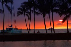 Tropical sunset picture Royalty Free Stock Photography
