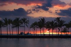 Tropical sunset picture Royalty Free Stock Image