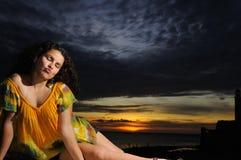 Tropical sunset portrait Stock Image