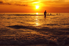 Tropical sunset at sea coastline Royalty Free Stock Photography