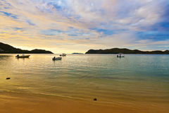 Tropical sunset at Seychelles Stock Photography