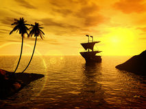 Tropical sunset with a ship. Computer generated vector illustration