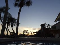 Sunset and palm trees at the swimming pool. Tropical sunset at the swimming pool Royalty Free Stock Image