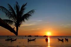 Tropical sunset,Thailand. Sunset on tropical beach. Ko Chang island, Thailand Royalty Free Stock Photos