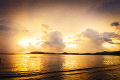 Tropical sunset in Thailand. Beautiful sunset on the beach in Thailand Royalty Free Stock Image
