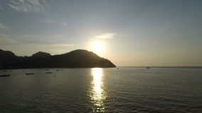 Tropical sunset in thailand. Sunset over lo dalum bay on ko phi phi island in thailand stock video