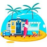 Tropical sunset. Travel Trailer Caravans. royalty free illustration