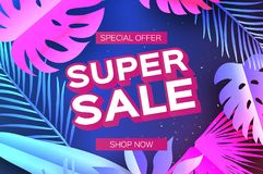 Tropical Super Sale Banne. Palm leaves, plants. Exotic Paper cut art. Hawaiian. Text. Origami Monstera jungle floral Stock Photography