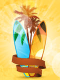 Tropical surfboard and banner Royalty Free Stock Photography