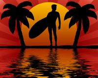 Tropical surfer Royalty Free Stock Photos
