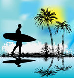 Tropical Surfer. Background illustration of a surfer walking along a tropical lagoon Royalty Free Stock Images