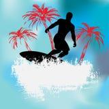 Tropical Surfer Background. Background Grunge illustration of a surfer against Palm Trees stock illustration