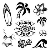Tropical surfing and relax symbols ink sketch set in tattoo style. Tropical surfing and relax symbols vector ink sketch set in tattoo style Stock Photo
