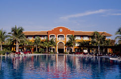 Tropical Swimming Pool. Swimming pool in the early morning light, Mayan Riviera, Mexico Royalty Free Stock Images