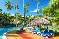 Tropical swimming pool. Swimming pool in the tropical hotel Stock Photos