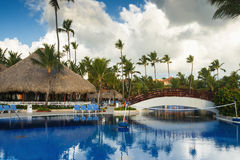 Tropical swimming pool in luxury resort, Punta Cana Royalty Free Stock Photography