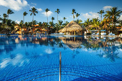 Tropical swimming pool in luxury resort, Punta Cana Stock Photos