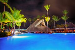 Tropical swimming pool in luxury resort, Punta Cana stock images