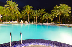 Tropical swimming pool in night view Stock Photo