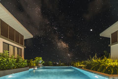 Tropical Swimming Pool with starry sky.  Royalty Free Stock Photo