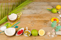 Tropical table setting stock image