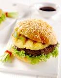 Tropical teriyaki Hawaiian pineapple burger Stock Images