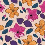 Tropical Textile Floral Repeat Print Pattern  in Vector stock illustration