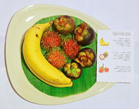 Tropical Thai Fruits with Description Note Stock Photo