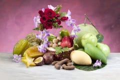 Tropical Thai fruits display on the basket Stock Image