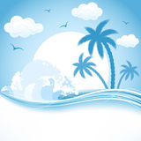 Tropical theme. Tropical Island with palms and waves, illustration Royalty Free Stock Photos