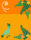 Tropical Theme. Tropical bird ferns and flower illustration Stock Photo