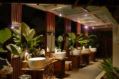 Tropical toilet at night Stock Photos