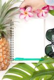Tropical topbotanical concept still life notebook Stock Photography