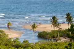 Tropical Trancoso Beach in Bahia, Brazil. River meeting the ocean in the tropical beach of Trancoso Village, Bahia, Brazil royalty free stock photo