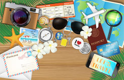 Tropical travel object set on wood background. A tropical travel object set on wood background Stock Photos