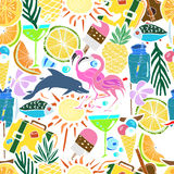 Tropical Travelling Objects.Seamless Pattern. Stock Images