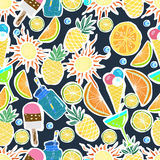 Tropical Travelling Objects.Seamless Pattern. Royalty Free Stock Photo