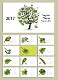 Tropical tree, calendar 2017 design. Vector illustration Royalty Free Illustration