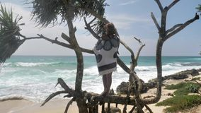 Tropical Tree Girl View Slowmotion 4k. Footage of a girl standing on tree next to the ocean in Sri Lanka. Slowmotion shot in 4k stock video