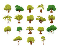 Tropical Trees Collection. Tropical Trees Video Game Flat Vector Design Icons Set Of Isolated Items on White Background Royalty Free Stock Photos