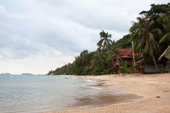Tropical trees with red bungalow house on the island coastline royalty free stock image