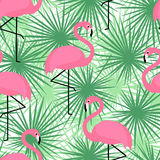 Tropical trendy seamless pattern with flamingos and palm leaves. Exotic Hawaii art background. Stock Images