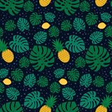 Tropical trendy seamless pattern with pineapples, lemons and green palm leaves on dark background. Exotic Hawaii art background. Fashion design for fabric Royalty Free Stock Images