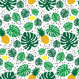 Tropical trendy seamless pattern with pineapples, lemons and green palm leaves on white background. Exotic Hawaii art background. Fashion design for fabric Royalty Free Stock Images